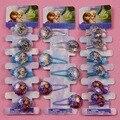 Elsa Anna Princess Shiny Hair Clips Heart-shaped Girls BB Hair Accessories Cartoon Rim Hairpin Hair Tie Kid Rubber Head Band -C