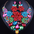 Exquisite 3D flowers exaggerated crystal rhinestones necklace earrings set African bridal jewelry sets