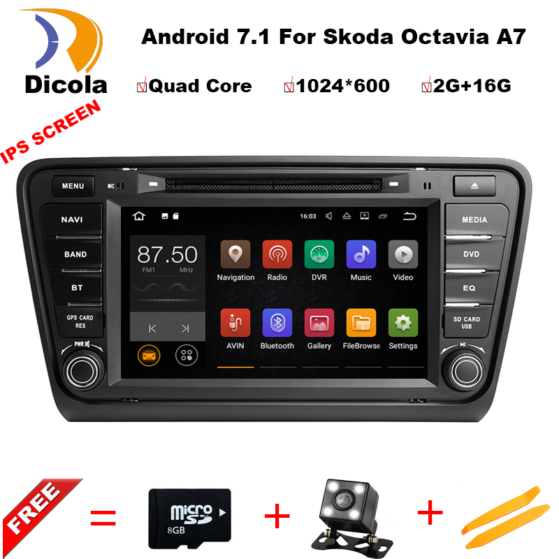 8 2+16G 4 CORE Android 7.1 Car DVD For Skoda Octavia A7 In Dash Auto PC Radio RDS FM Audio Video GPS Navigation Stereo Headunit car dvd gps android 8 1 player 2din radio universal wifi gps navigation audio for skoda octavia fabia rapid yeti superb vw seat