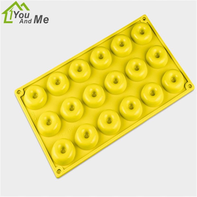 Довольно 18 лунок мини-пончики Еда Класс силиконовые торт Декор Плесень анти-палки Шоколад формы для выпечки Tool30 * 17,5*1,5 см