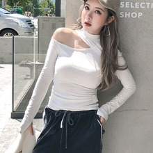 2019 Autumn Womens T Shirt Women Sexy Solid Cut Out Off Shoulder T-Shirt Femme Clothing Stand Collar Long Sleeve Tops цена