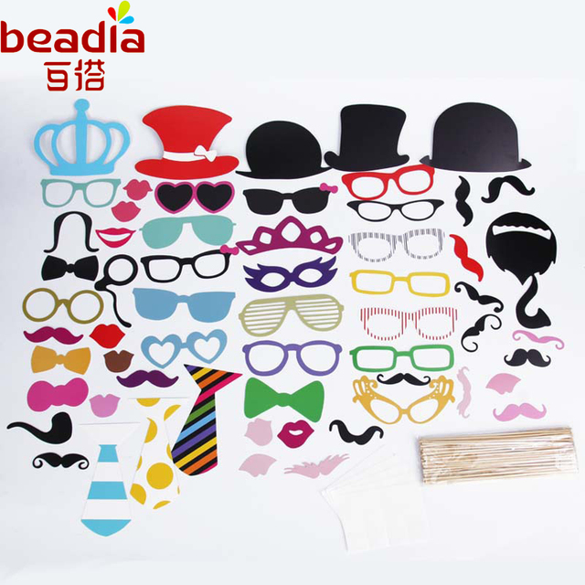 6ddde7f9bd8e 60pcs set 60 Styles Mustache Funny Birthday Party Red Lips Frame Take Photo  Tools For Happy Birthday Commenorate Supplies