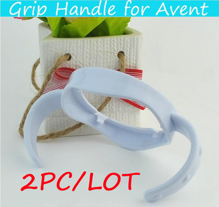 2Pcs / lot håndtak for flaske melk kopp Grip håndtak for Avent suit for naturlig bred munn PP Glass Baby Feeding Bottle Tilbehør