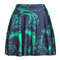 Casual summer style american apparel saia sexy 3d print green Octopus tentacle above knee mini Pleated skirts womens faldas jupe