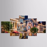 Hot Sales Framed 5 Panels Picture Bustling Street View HD Canvas Print Painting Artwork Wall Art