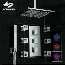 Uythner Decke Mounte 3 Farbwechsel Quadrat Regen Duschkopf Thermostatventil Mischbatterie W/Massage Jets Dusche Sprayer