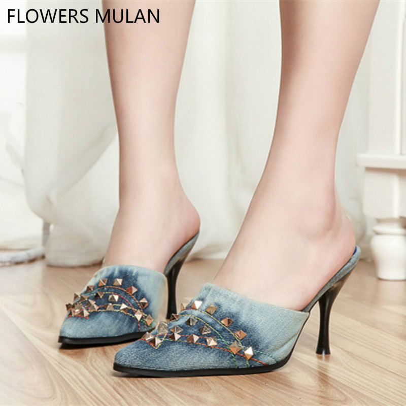 Denim Decorative Studded Blue Jeans Sandals Metal Stiletto Shoes Woman Pointed Toe High Heels Mules Slippers Pumps Lady Shoes guess shoes jeans pumps