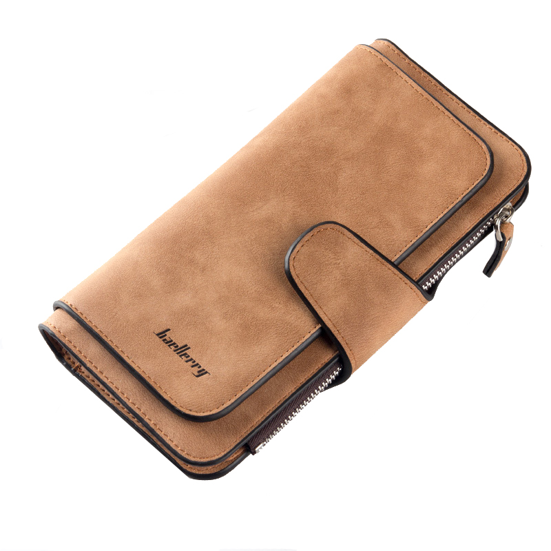 Baellerry  Leather Women Wallet High Quality Design Hasp Solid Color Card Bags Long Female Purse 6 Colors Ladies Clutch Wallet high quality floral wallet women long design lady hasp clutch wallet genuine leather female card holder wallets coin purse