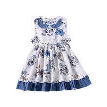 Infant Girl Doll Collar Print Flower Dress Summer Children Sleeveless Pleated Waistcoat Casual Baby Girl Clothes Princessvestido sun flower print pleated dress