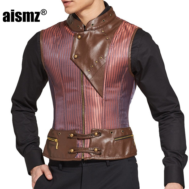 418cc3eb67875 Aismz Men Body Shaper Vest Vintage Steampunk Corset Leather Zipper Korset  Tops Man Waist Trainer Belly Tummy abdomen Slimming