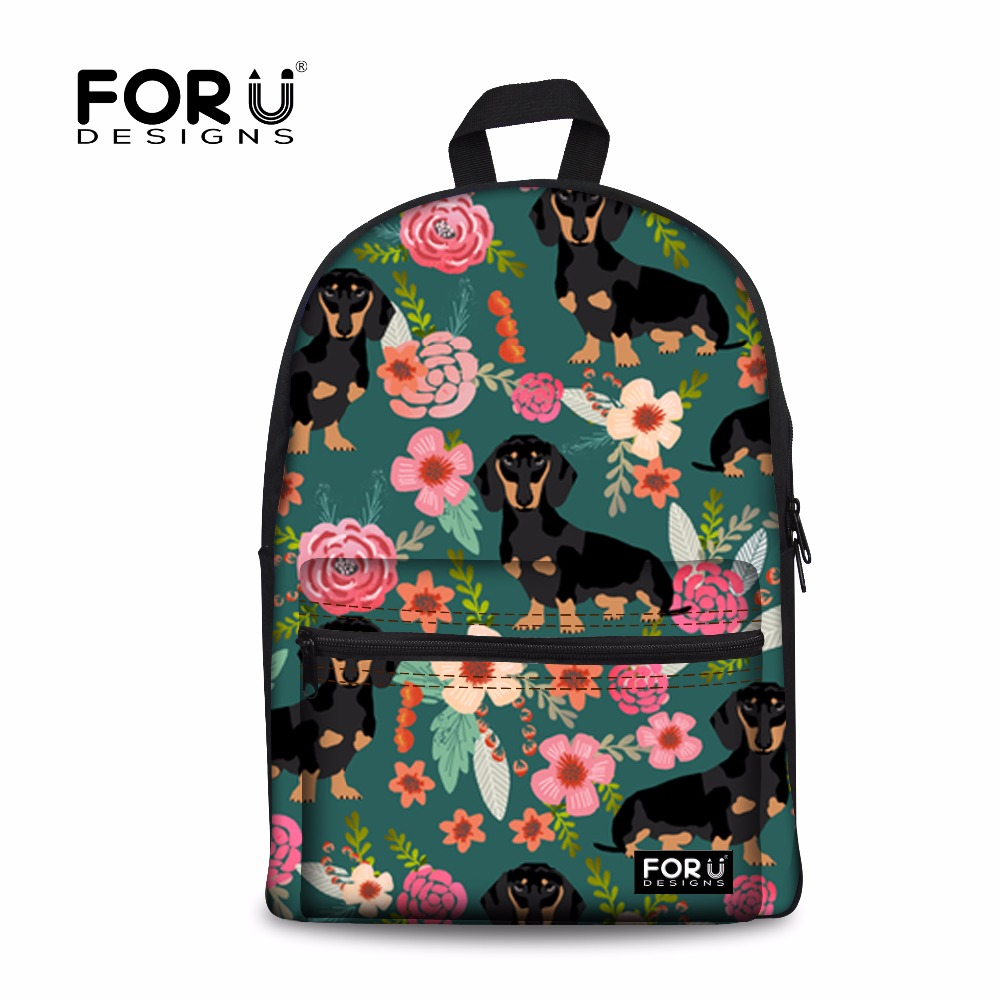 FORUDESIGNS Backpack Women Dachshund Dog Print Laptop Backpacks Teenager Girls Daily Daypack Fashion Collage Book Rucksack Bolsa forudesigns fashion women drawstring bags william morris print mini string rucksacks for female reusable storage backpacks bolsa