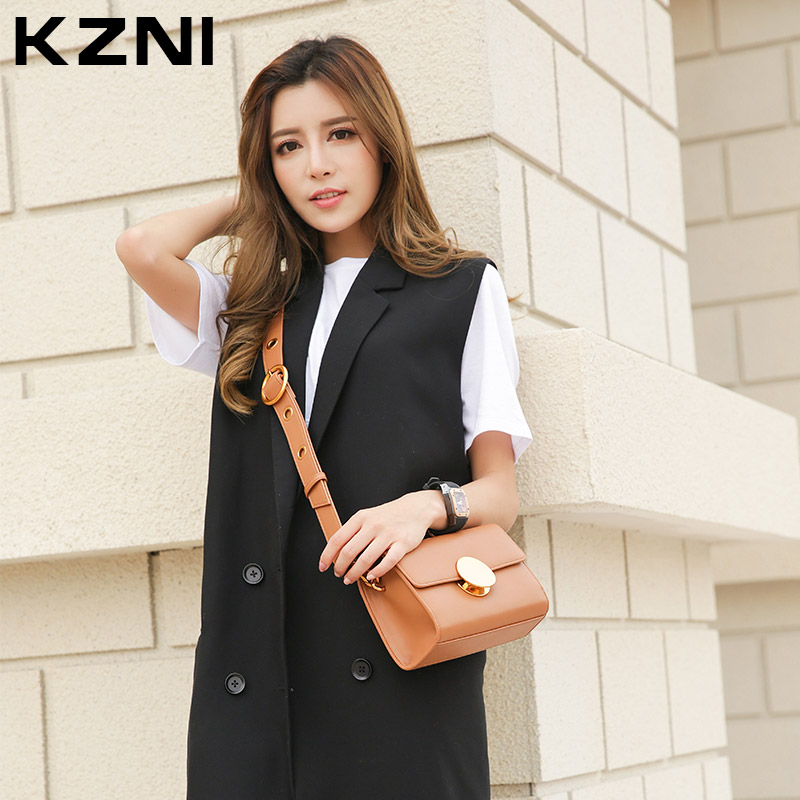 KZNI Genuine Leather Bags Bags for Girls Shoulder Bag Women Leather Handbags Designer Handbags High Quality Bolsas Feminina 9005 kzni real leather tote bag high quality women leather handbags top handle bags purses and handbags bolsa feminina pochette 9057