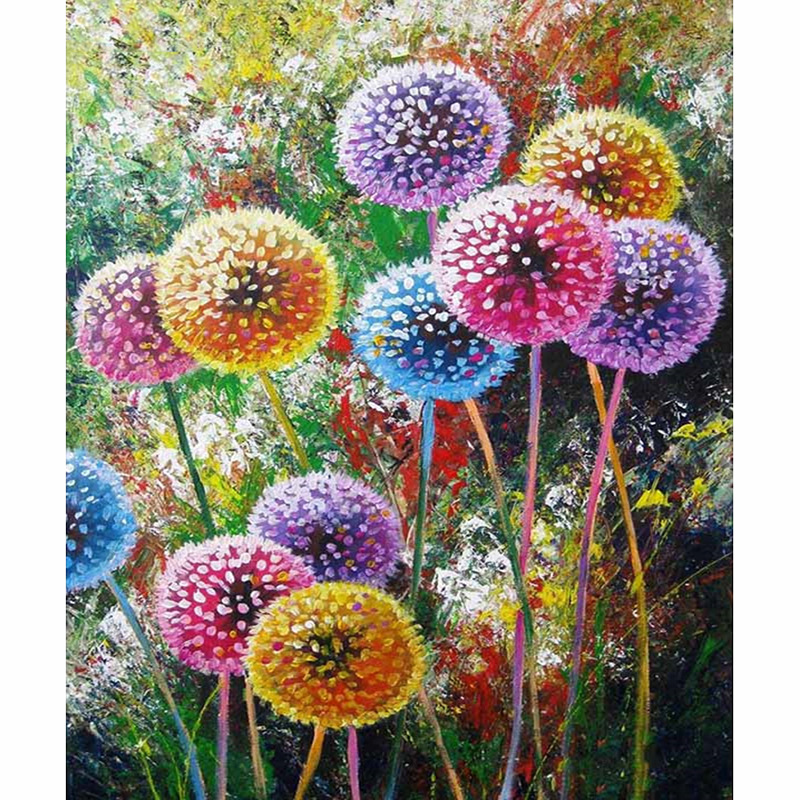 Painting Cat 5d Diy Diamond Painting Dandelion