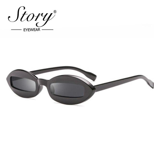 322f757ba6 STORY 2018 Small Oval Frame Sunglasses Fashion Retro Rectangle Lens Black  Leopard Slim Sun Glasses For