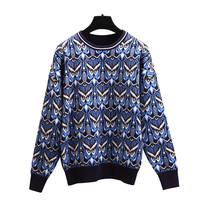 Elegant Jacquard Animal Owl Sweater Women's Tops Long Sleeve Knitted Pullover Female Office Lady Designer Pull Outerwear T18006