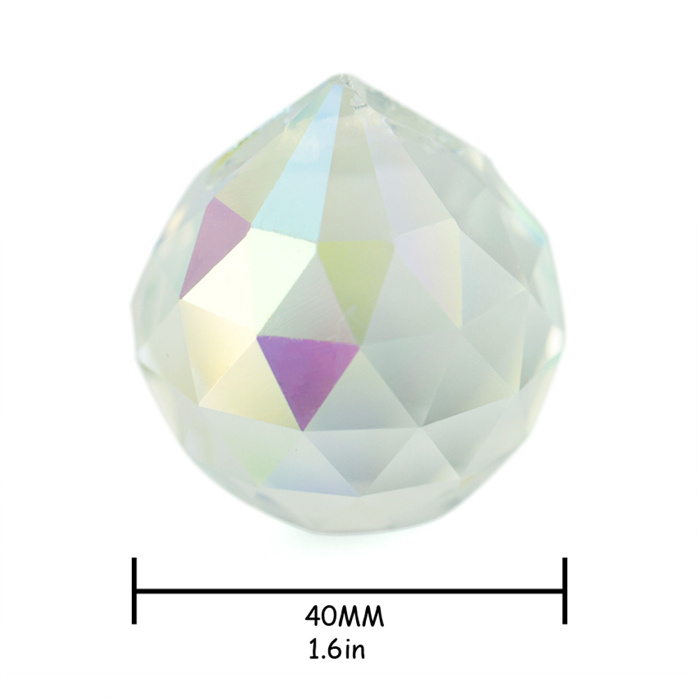 4PCS / Lot, AB COLOR, 40mm křišťálová koule, křišťálové lustrové kuličkové díly pro svatební a fengshuiové výrobky, dekorace X-MAS