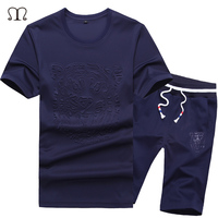 Men S Tops Tees 2017 Tight Printed Sportsuit Set T Shirts Shorts Summer Brand Tshirt Sets