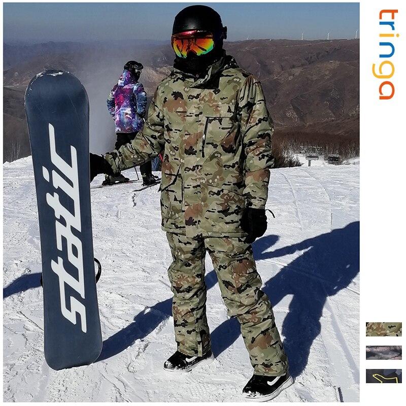 Ski costume pour homme Hiver Nouveau Extérieure Coupe-Vent Imperméable Thermique Mâle pantalon de neige ensembles Ski Et Snowboard veste de Ski Hommes Marques