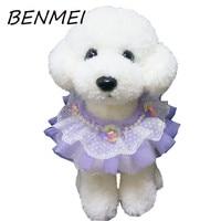 Benmei perro con perlas 2017 escote ajustable gato precioso perrito corbata Encaje Flor del arco lazo Accesorios para perro