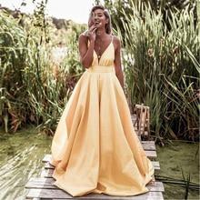 Bbonlinedress Elegant A Line Prom Dress Sexy V Neck Spaghetti Straps Evening Vestido de fiesta 2019 noche