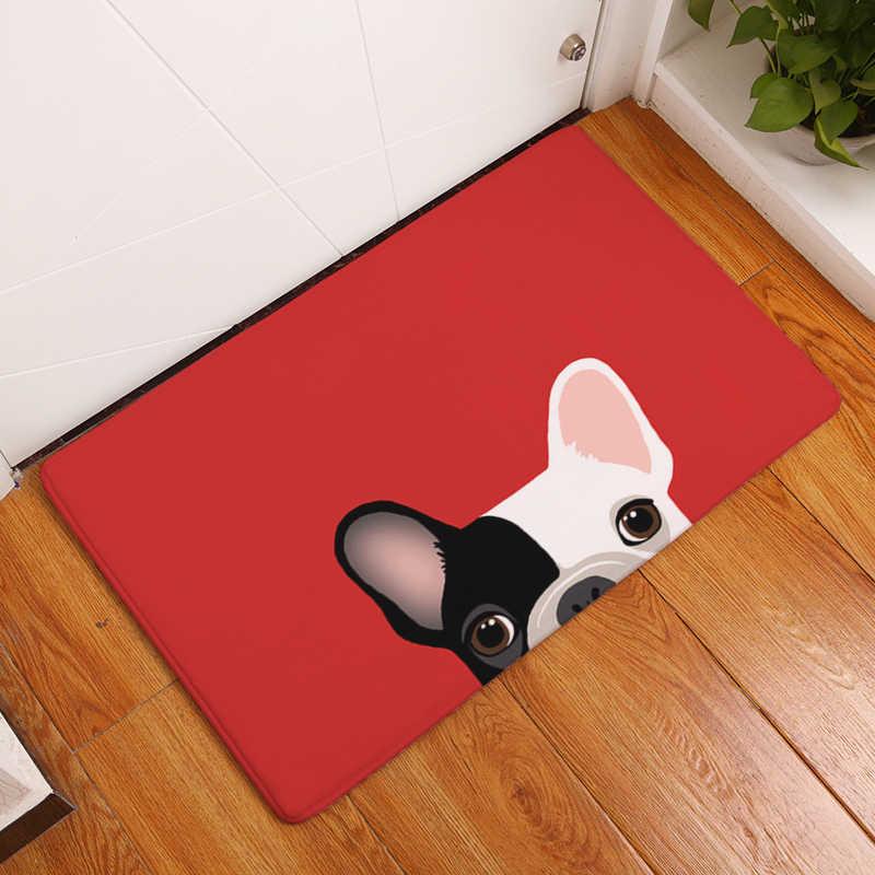 Comwarm 40*60 см легкие тонкие Противоскользящие коврики короткий милый мультяшный щенок бульдога коврики для собак Добро пожаловать домой входная дверь пол фланелевый коврик