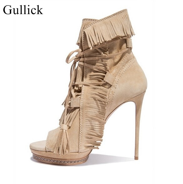 Gullick Beige Suede Fringed High Heel Ankle Boots Open toe Lace-up Ankle Boots Fashion Tassel Gladiator Sandal Boot Womans army green gold buckle side zipper high heel ankle boots women open toe fashion gladiator sandal boot womans