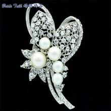 Faux Pearl Brooch Wedding Bouquet Flower Broach Pins Women Jewelry W/ Clear Rhinestone Brooches Crystals Accessories Bridal 6153