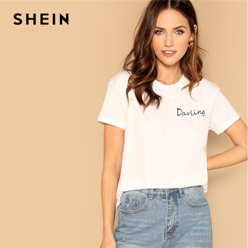 SHEIN Going Out Highstreet White Letter Print Elegant Tee 2019 Summer Women Minimalist Round Neck Short Sleeve Tshirt Tops