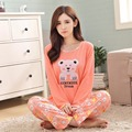 2017 Primavera Urso Dos Desenhos Animados Character Pijamas Conjuntos Pijamas Mulheres Pijamas Mujer Femme Fatos de Treino de Manga Comprida Feminina Sleepwear