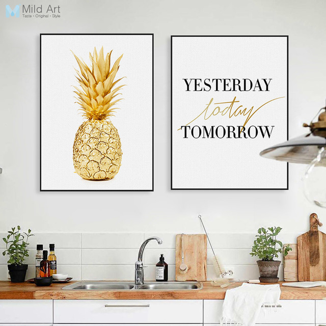 Modern Minimalist Life Quotes Gold Pineapple Posters A4 Nordic ...