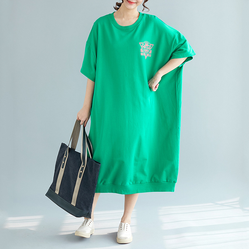 Woman Oversized T Shirt Dress 2019 Korean Edition Woman Summer Plus Size Short Sleeve O neck Loose Dress Letter Print Maxi Dress in Dresses from Women 39 s Clothing