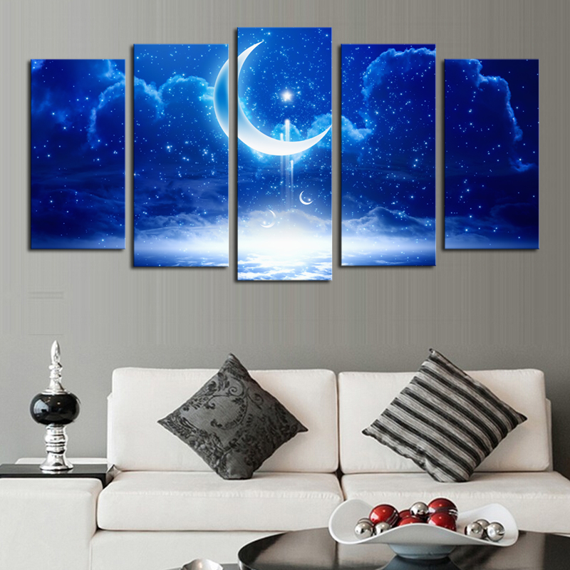 Modern Dream Moon Cloudy Canvas Painting Contemporary Art Prints Wall Home Decor For Living Room In Calligraphy From Garden On