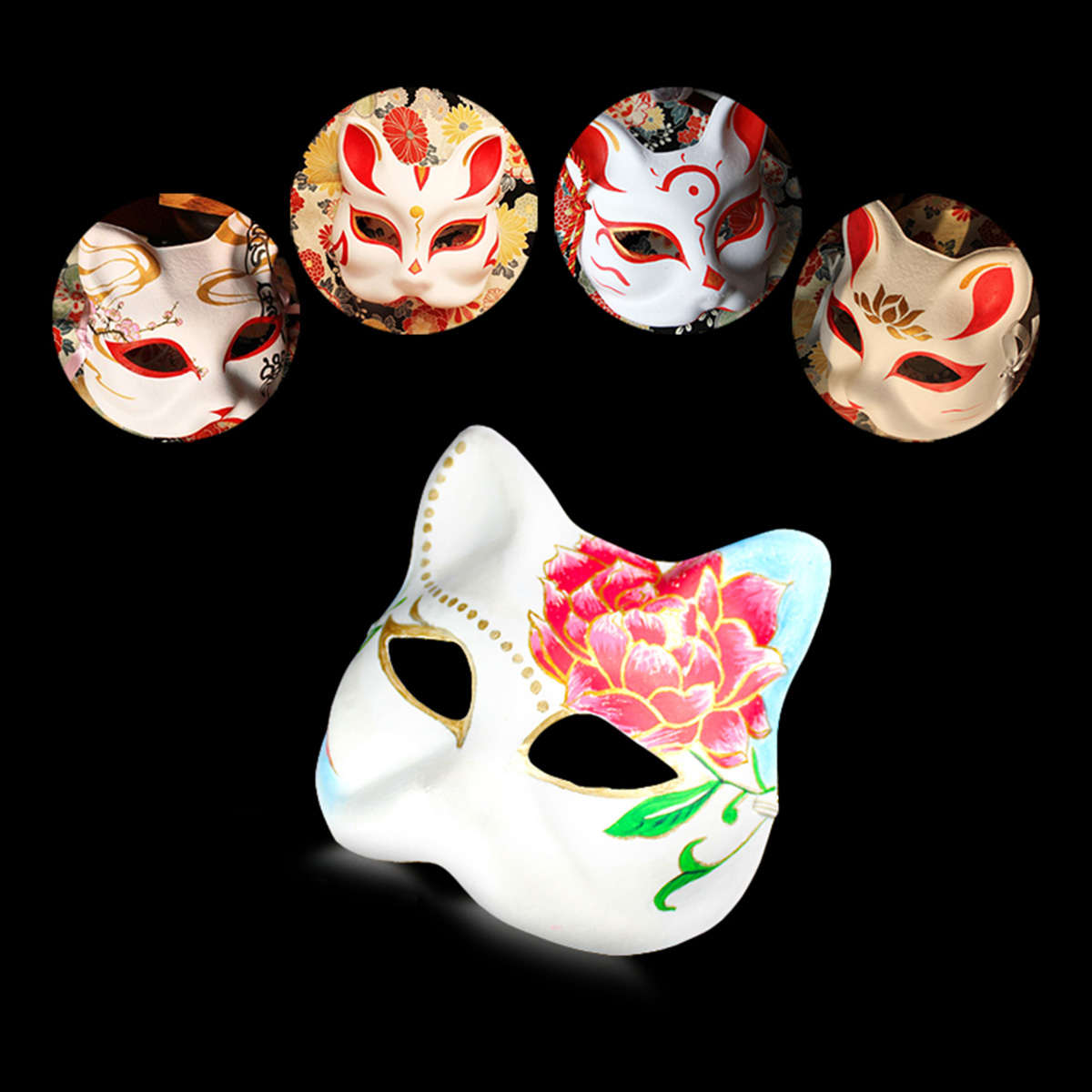 12Pcs Unpainted DIY Masks Half Face Masks Pulp for Halloween Costume Party