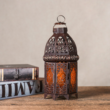 PINNY Hollow Retro Glass Candle Holders European Classical Metal Candlesticks Home Decoration Accessories Iron Lanterns
