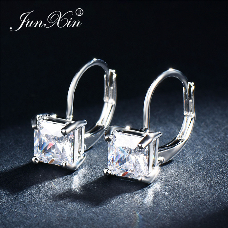 JUNXIN Square White/Pink/Black/Red Zircon Hoop Earrings For Women Silver Color Princess Stone Wedding Hook Earrings Female