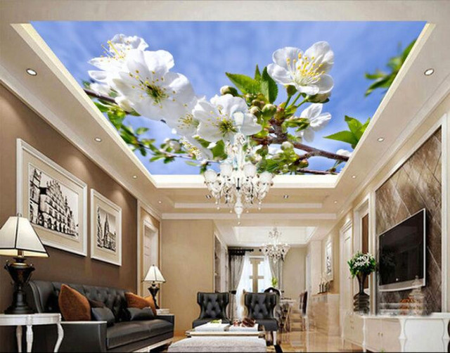High Quality 3d Wallpaper Custom Mural Wall Sticker High Definition Sky Clouds, Foliage,  And Ceiling For