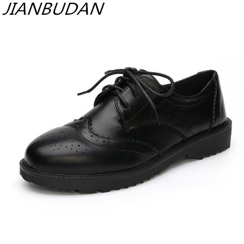 JIANBUDAN Retro casual Low-heele Bullock black Womens shoes High quality pu soft leather Lace-Up Comfortable office