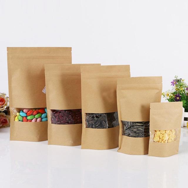10pcs 4 Size Paper Gift Bag For Tea Powder Nut Food Cookie Packaging Zip Lock Bags