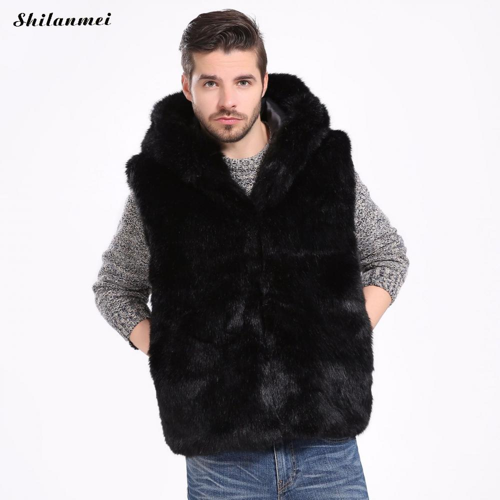 2018 Men'S Autumn Winter Artificial Fur Coat Jacket Black Faux Fur Coat Vest Casual Male Warm Ourwear Plus Size Overcoat 3xl-S