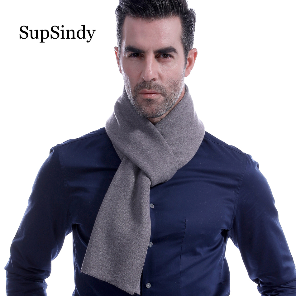 SupSindy Winter Scarf Men Wool Cashmere Fashion Casual Men Scarf Black Solid Vintage Soft Scarves Luxury Shawl Lattice Warm Wrap