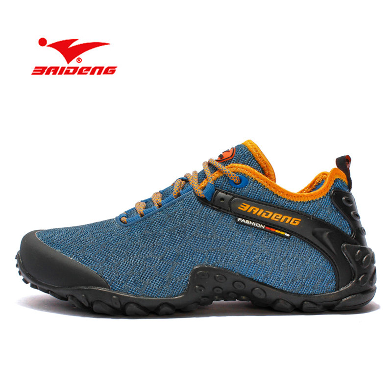 BAIDENG New Brand Hiking Shoes Breathable Outdoor Shoes Camping Climbing Rubber Sole Mesh Outdoor Men Hiking Shoes Size 35-44 new 2017 brand men spring autumn outdoor climbing shoes couple climbing hiking lace up rubber breathable shoes 8037