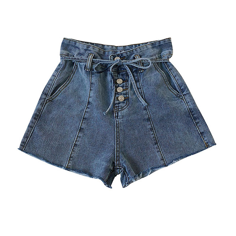 Bottoms Generous New Denim Shorts For Women 2019 Summer Fashion Hot Shorts High Waist Wide Leg Cotton Shorts S-xl Female #4021 High Standard In Quality And Hygiene