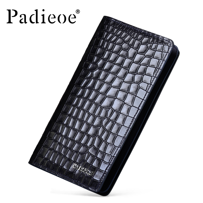 Padieoe 2017 New Luxury Famous Brand Men Wallets Long Genuine Leather Business Male Card Holder Purse padieoe new design metal wallet for male famous brand fashion men s business purse high quality men genuine leather card holder