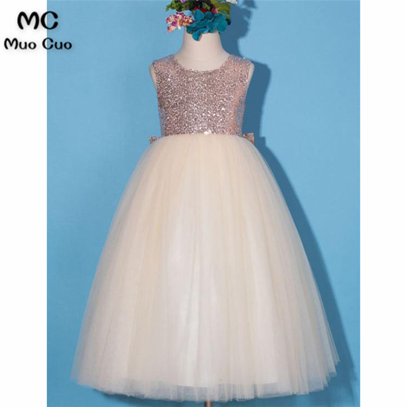 Sequined 2018 A-Line Gown first communion   dresses   for   girls   Bow Tulle kids evening gowns   flower     girl     dresses   for weddings