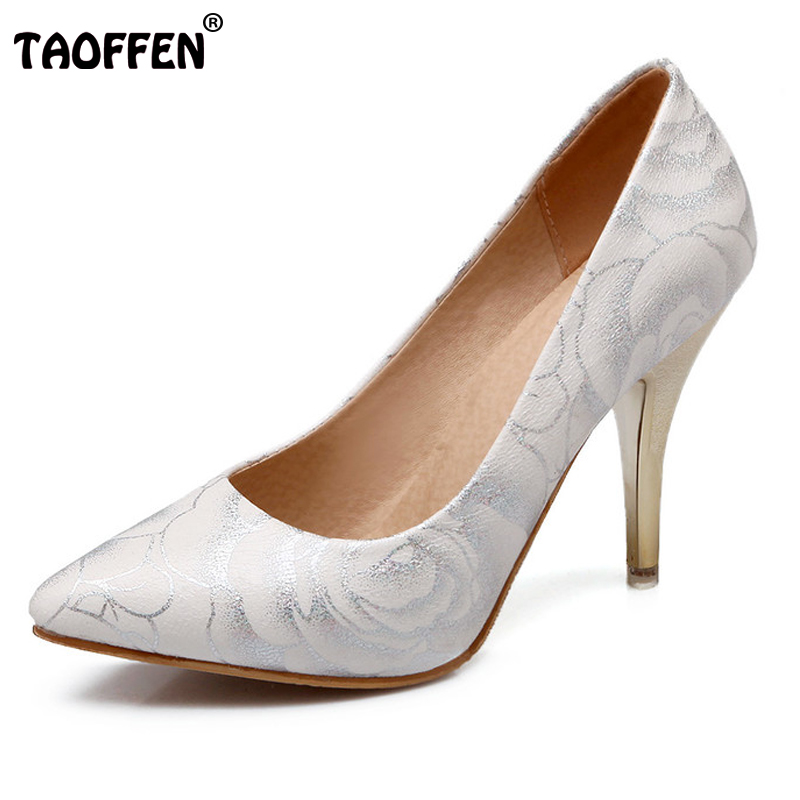 TAOFFEN women stiletto high heel shoes pointed toe spring sweet footwear lady spring heeled pumps heels shoes size 34-47 P17515 гантель виниловая star fit db 102 5 кг