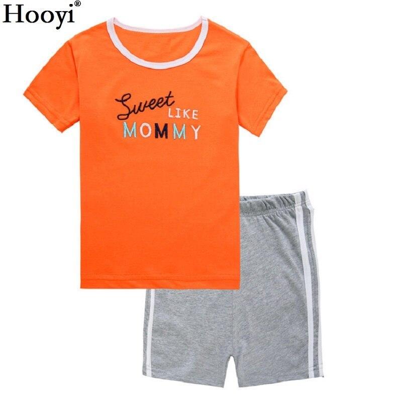 2018 Monster Sommer Jungen Pyjamas Anzüge Kurzarm Kind Große Augen Grün Kinder Pyjama Sets Jungen Nachtwäsche T-shirts Shorts Hose