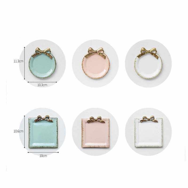 Скандинавский поднос для хранения смолы, креативное ювелирное изделие конфетного цвета, ожерелье с бантом, десертные тарелки, украшение для дома, офиса, рабочего стола, посуда с узорами