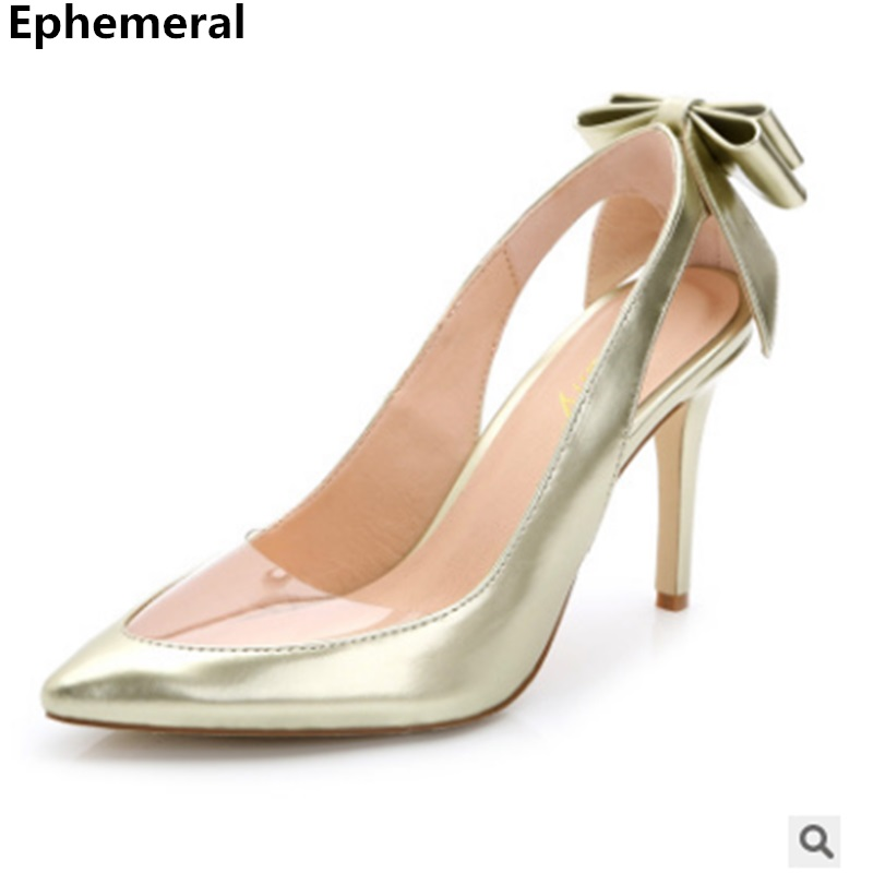 47293212ca9 Women Clear Patent Leather Pumps High Heels Stilettos Back Bow Shoes For  Party Wedding Sexy Style Plus Size 43 40 34 Gold Silver