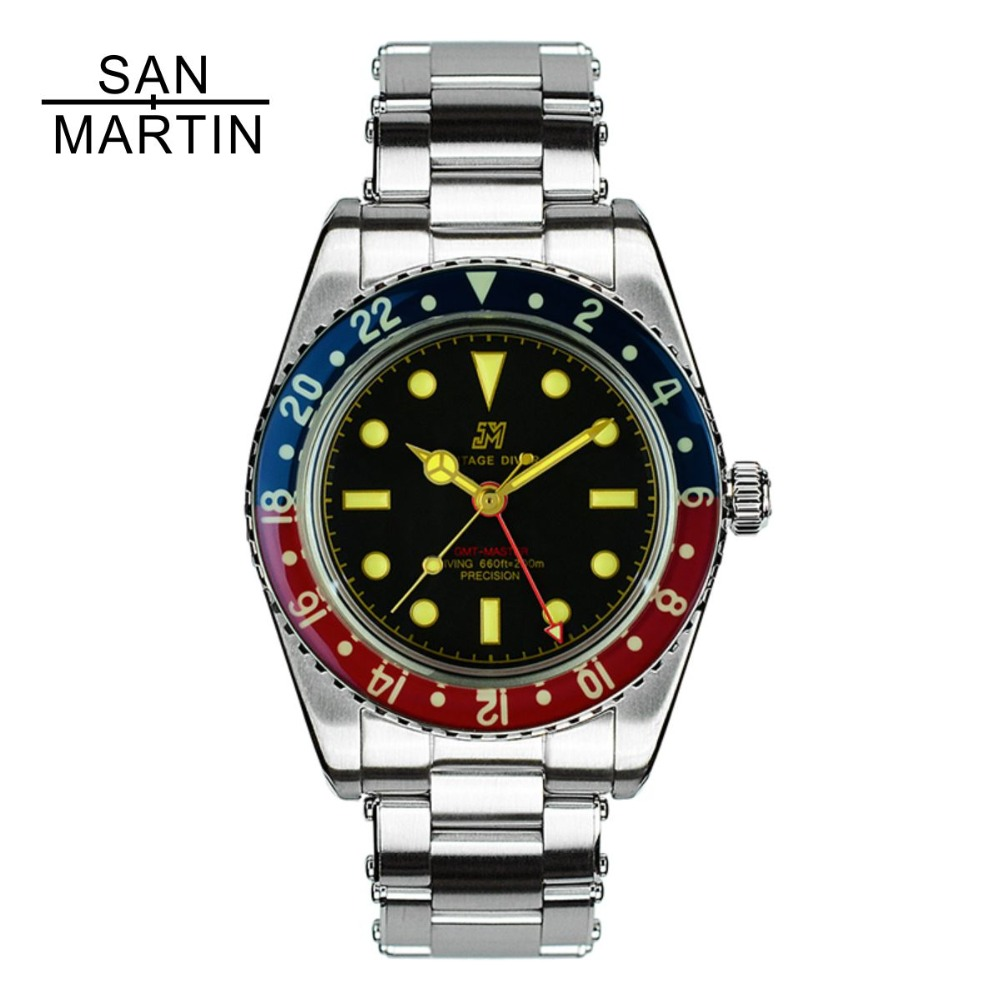 San Martin Men Vintage Watch Automatic Diving Watch Stainlss Steel Watch 200m Water Resistant Sapphire Circle