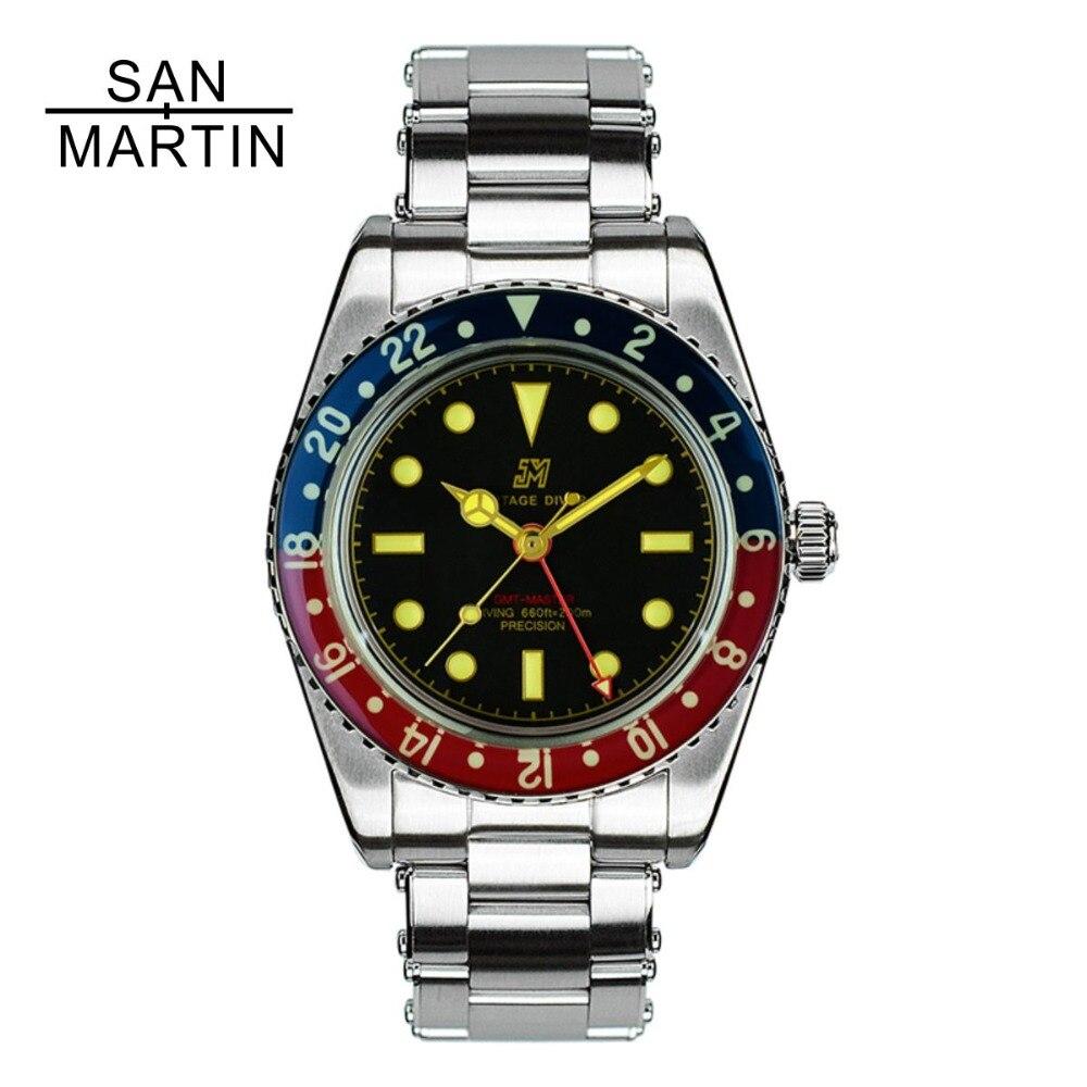 San Martin Männer Vintage Uhr Automatische Tauchen Uhr Stainlss Stahl Uhr 200m Wasserdicht Saphir Kreis Retro Armbanduhr-in Mechanische Uhren aus Uhren bei  Gruppe 1